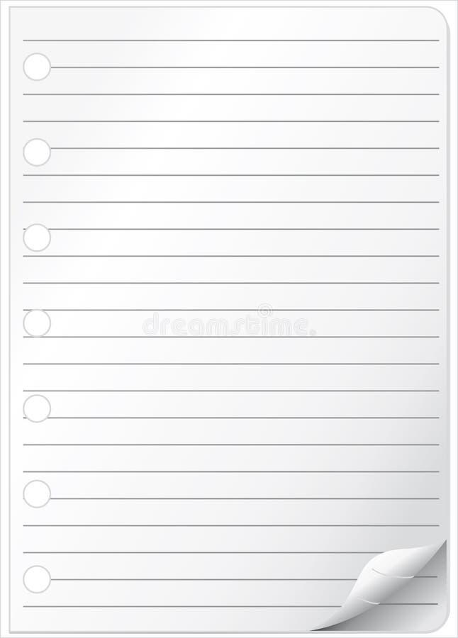 与被折叠的角落的笔记本页。 皇族释放例证