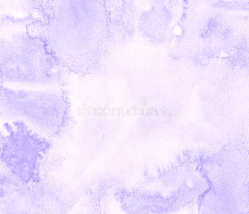 与被撕毁的冲程和条纹的淡紫色淡色水彩框架 抽象背景设计 向量例证