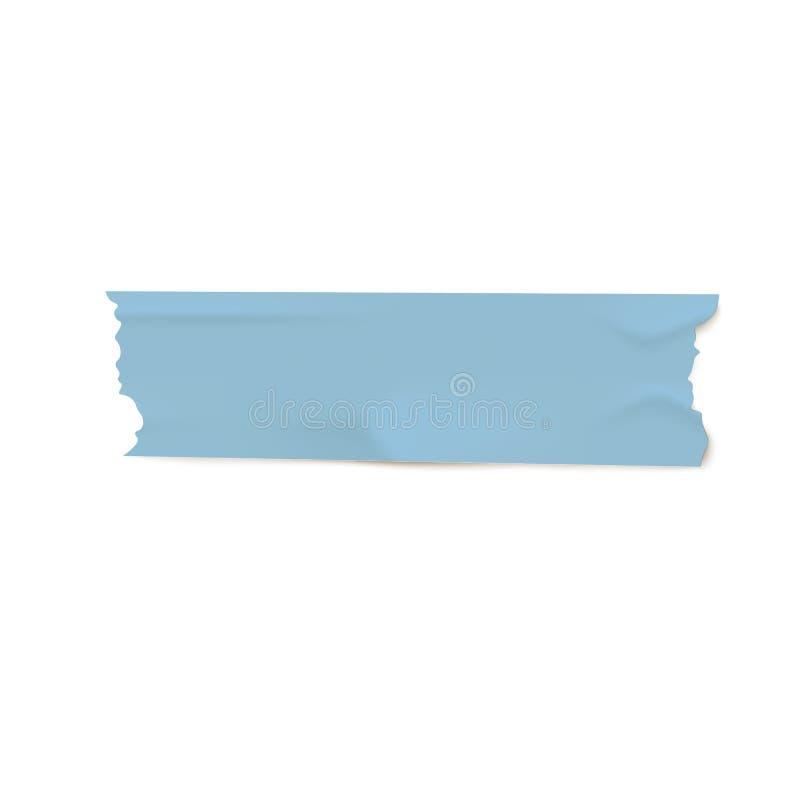 与被撕毁的边缘的蓝色黏着性Washi磁带片断,与现实起皱纹的纸纹理的稠粘的输送管小条 皇族释放例证
