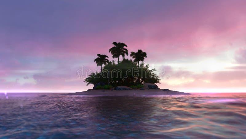 与被放弃的热带棕榈小岛的浪漫红色黎明天空在中部 皇族释放例证