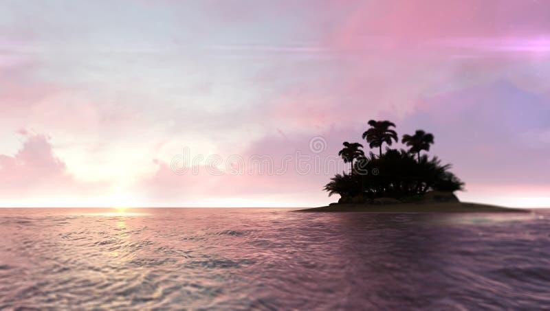 与被放弃的热带棕榈树海岛的浪漫红色黎明天空在右边 库存例证