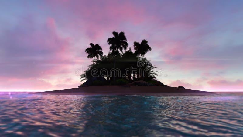 与被放弃的热带棕榈群岛的浪漫红色黎明天空在中部 向量例证