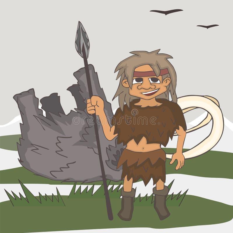 与被杀死的牺牲者动画片的冰河时期猎人 向量例证
