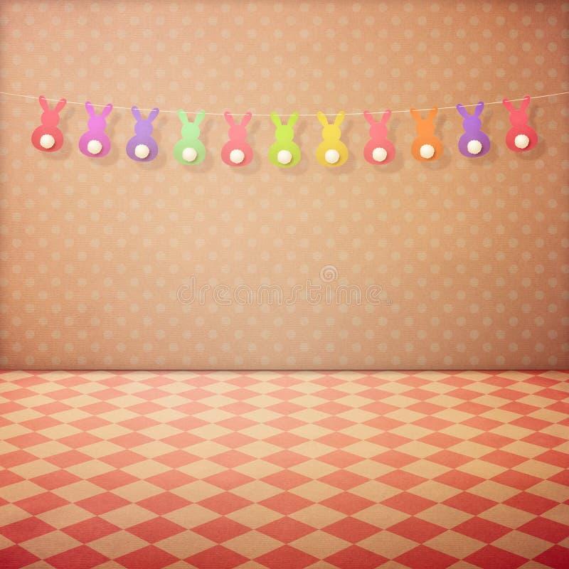 与被检查的地板的葡萄酒内部背景,桃红色圆点贴墙纸和兔宝宝诗歌选 背景美丽的复活节彩蛋节假日污点 库存图片