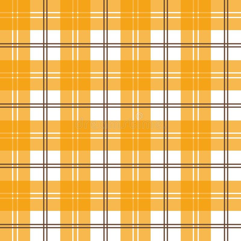 与被检查的装饰品的传染媒介无缝的盖瓦样式 橙色格子花 库存例证