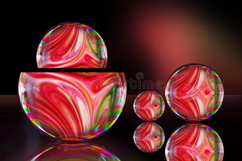 与被混合的五颜六色的液体油漆的肥皂泡一起创造样式 免版税库存图片