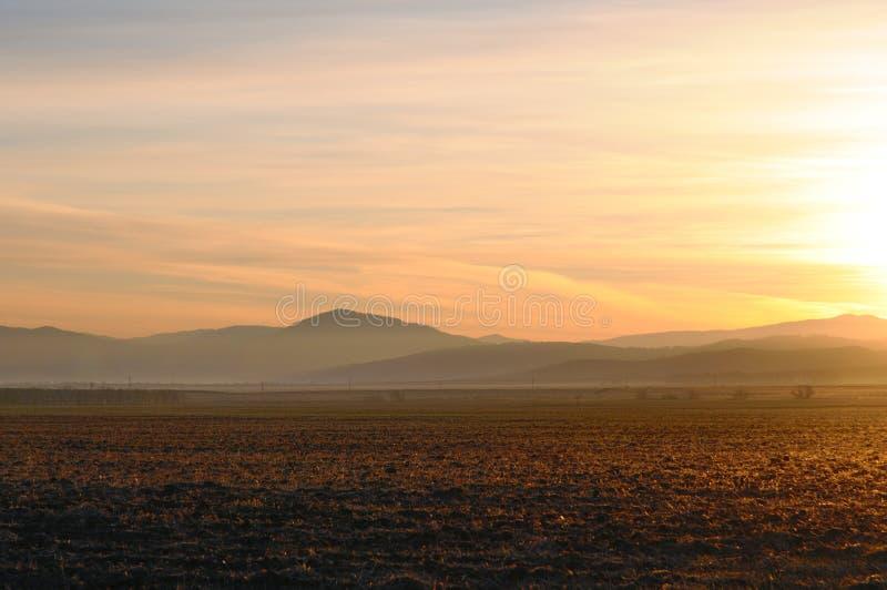 与被清洗的农业领域的秋天风景在光滑的小山上的壮观的金子日出期间 免版税库存照片