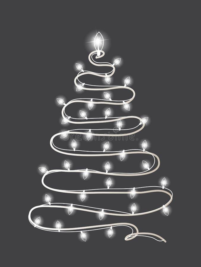与被点燃的诗歌选的抽象圣诞树 新年快乐和圣诞快乐贺卡,海报,邀请,飞行物 向量 向量例证