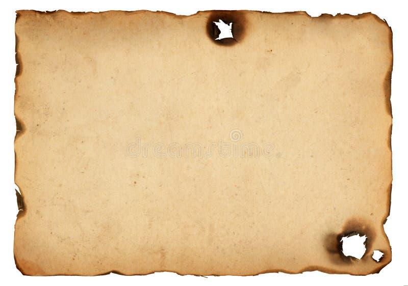 与被烧的边缘的老纸 免版税库存照片