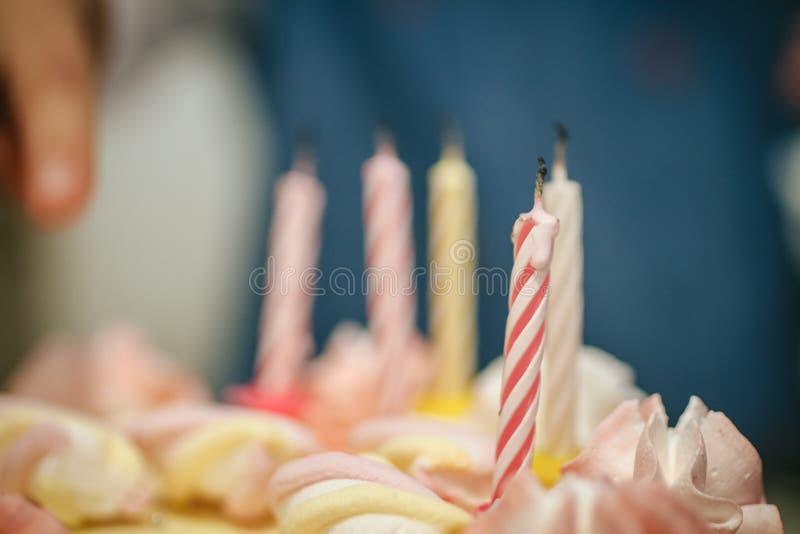 与被熄灭的蜡烛的蛋糕 免版税库存图片
