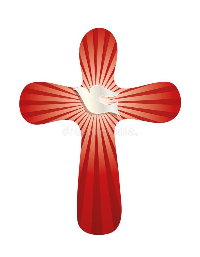 与被环绕的十字架的基督徒标志与鸠和在红色背景的光亮光芒 向量例证