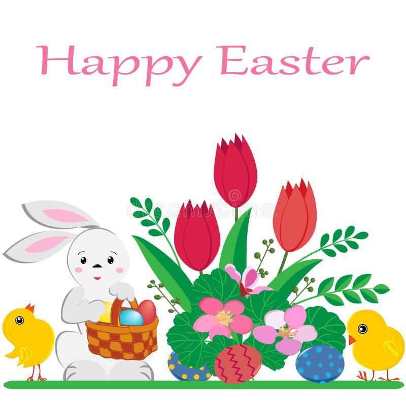 与被绘的鸡蛋、黄色鸡和春天花篮子的逗人喜爱的复活节兔在白色背景 向量例证
