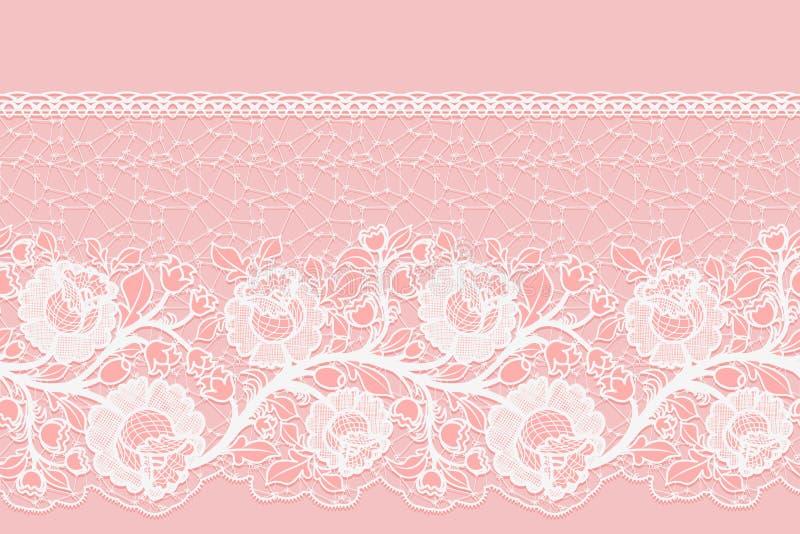 与被绣的玫瑰的有花边的水平的无缝的单边的丝带 在桃红色背景的白色鞋带 库存例证
