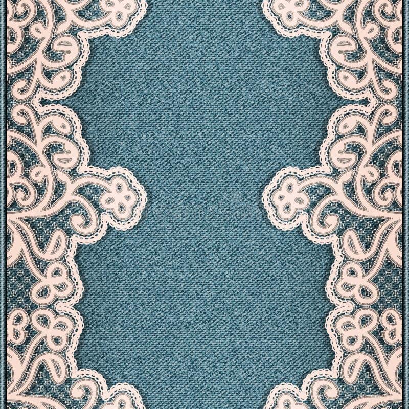 与被缝合的花卉鞋带织品的牛仔布垂直的背景 牛仔裤仿造无缝 蓝色纹理布料 皇族释放例证