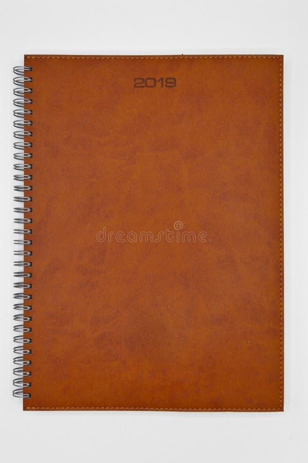 2019与被缝的议程的棕色皮革 免版税图库摄影