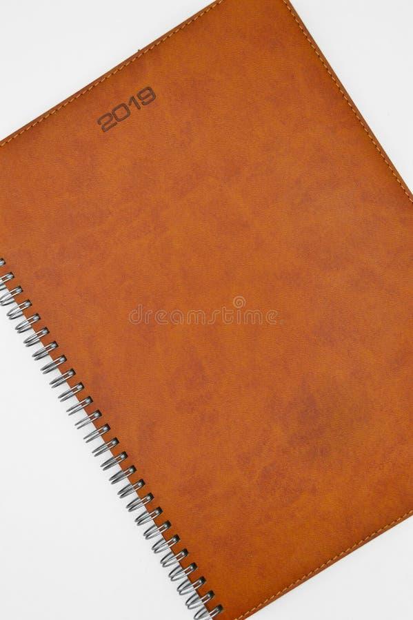 2019与被缝的议程的棕色皮革 免版税库存照片