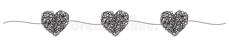 与被缠结的脏的心脏杂文的横幅 库存例证