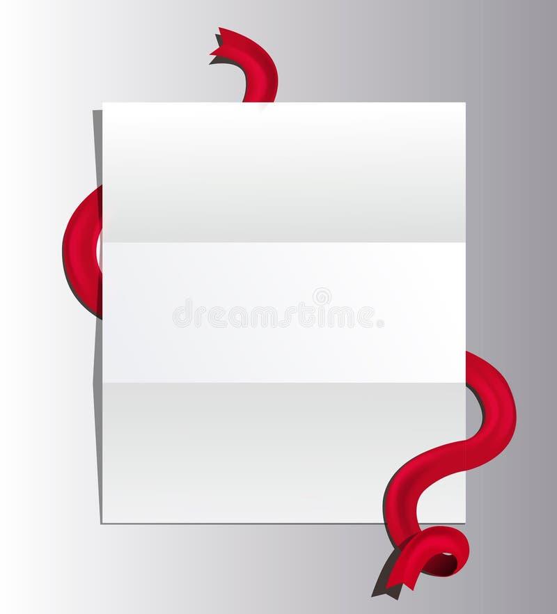 与被解开的红色丝带的公开信 在灰色背景隔绝的纸模板 库存例证
