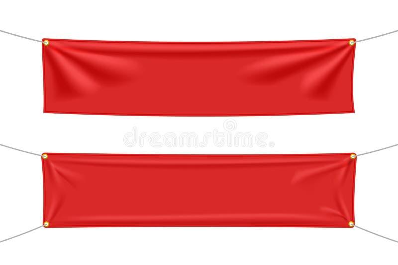 与被设置的折叠的红色纺织品横幅 向量例证