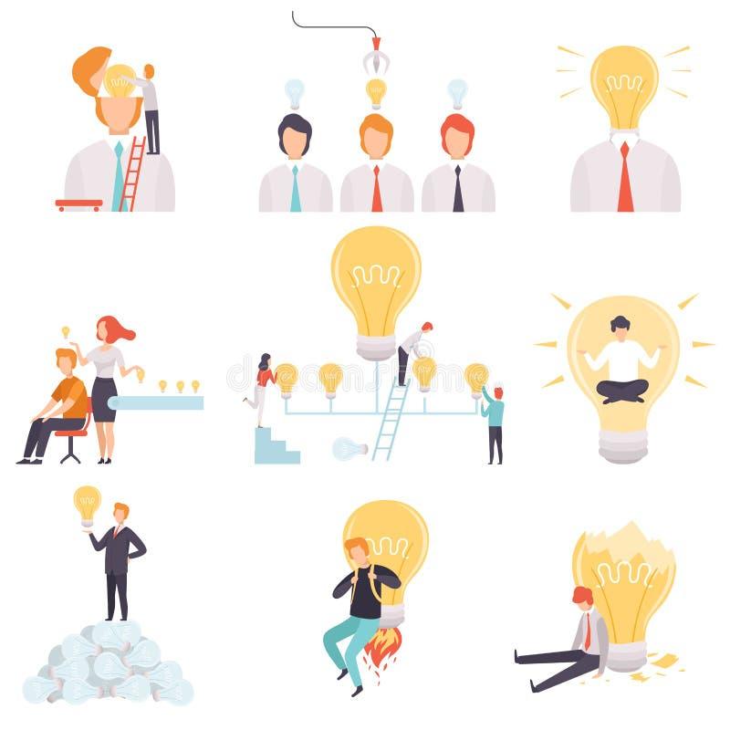 与被设置的电灯泡的商人,有,搜寻和分享好想法,激发灵感,创新的商人 皇族释放例证