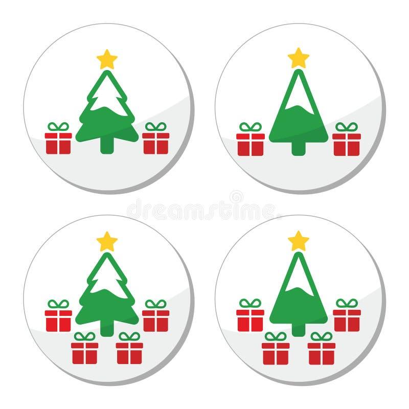 与被设置的礼物象的圣诞树 皇族释放例证