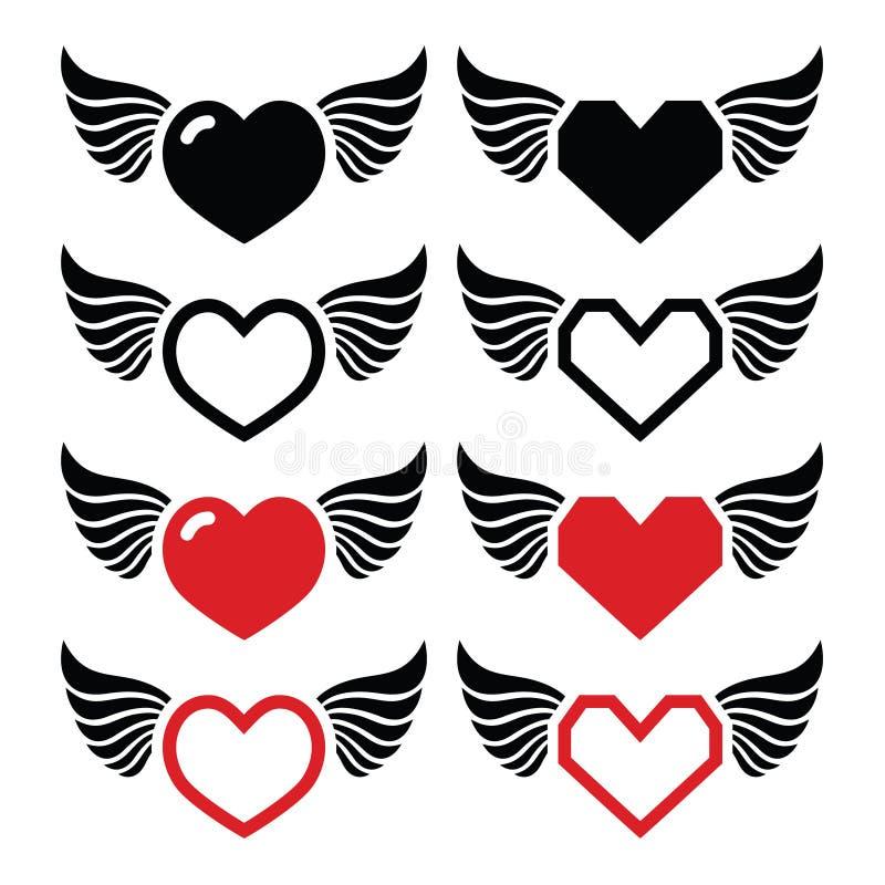 与被设置的翼象的心脏 向量例证