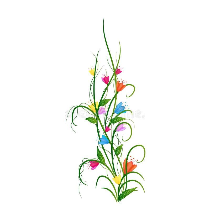 与被设置的花的草 库存例证