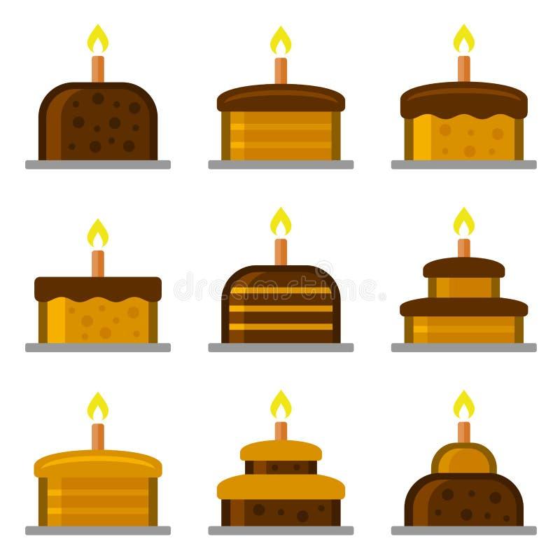 与被设置的蜡烛象的生日蛋糕 向量 库存例证