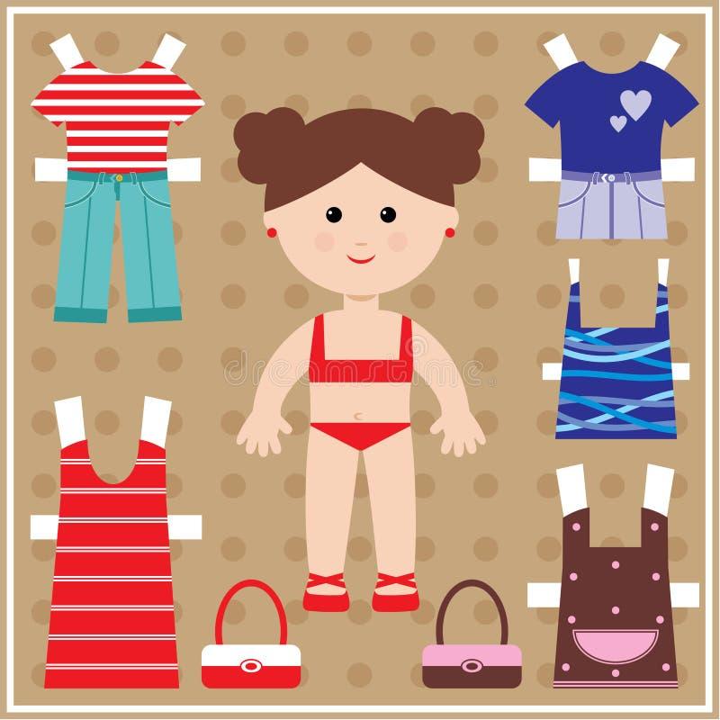 与被设置的衣裳的纸玩偶 向量例证