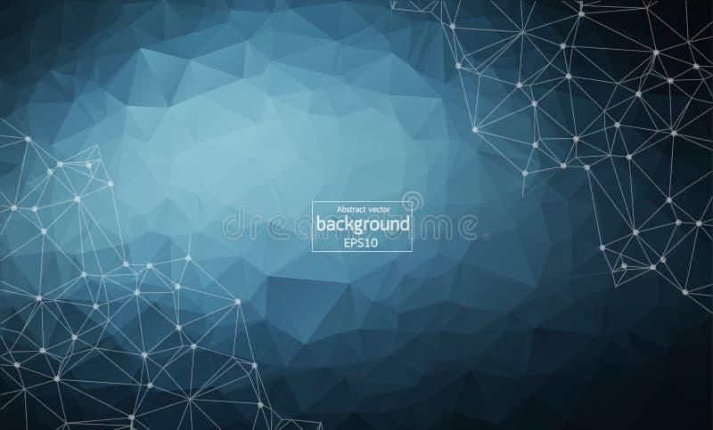 与被连接的小点和线,连接结构,未来派hud背景的摘要多角形深蓝背景, 皇族释放例证