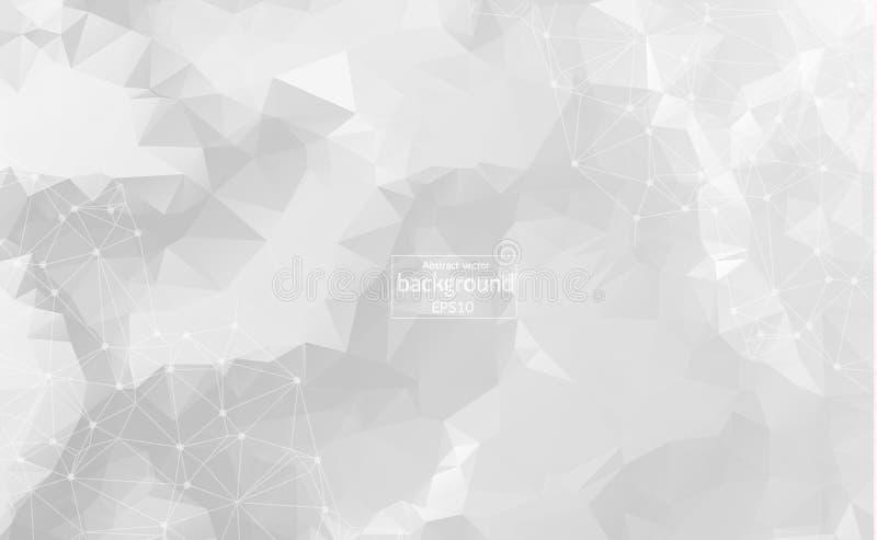 与被连接的小点和线,连接结构,未来派hud背景,传染媒介illustra的摘要多角形灰色背景 向量例证