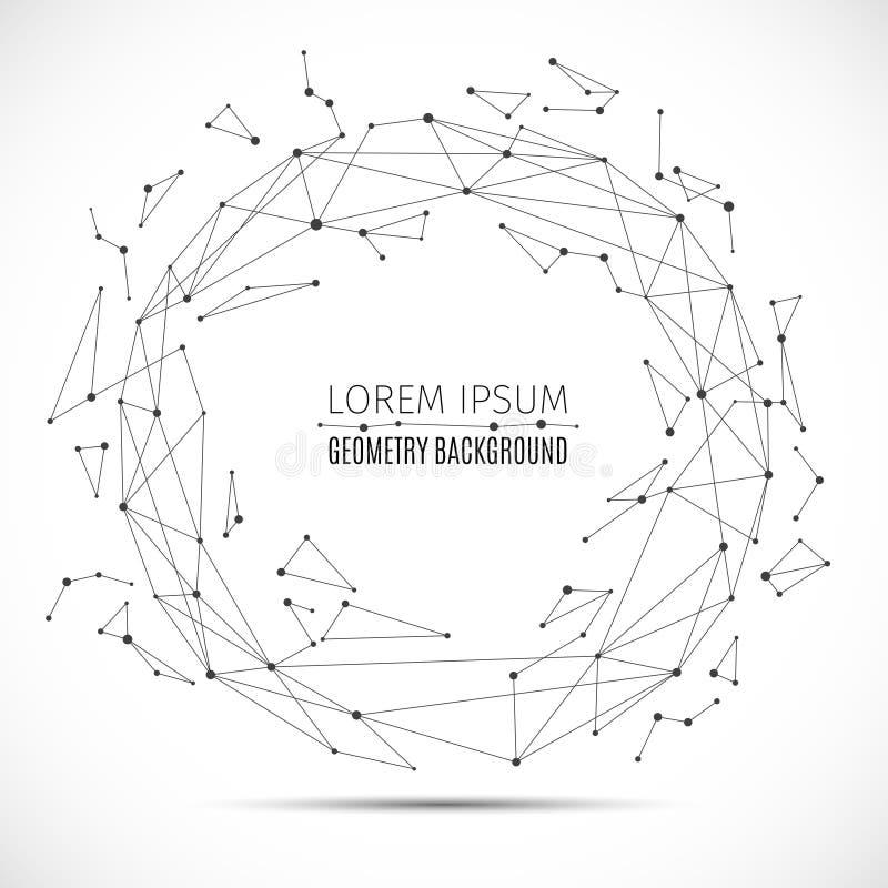 与被连接的小点的几何多角形线球形 矢量信息连接概念 向量例证