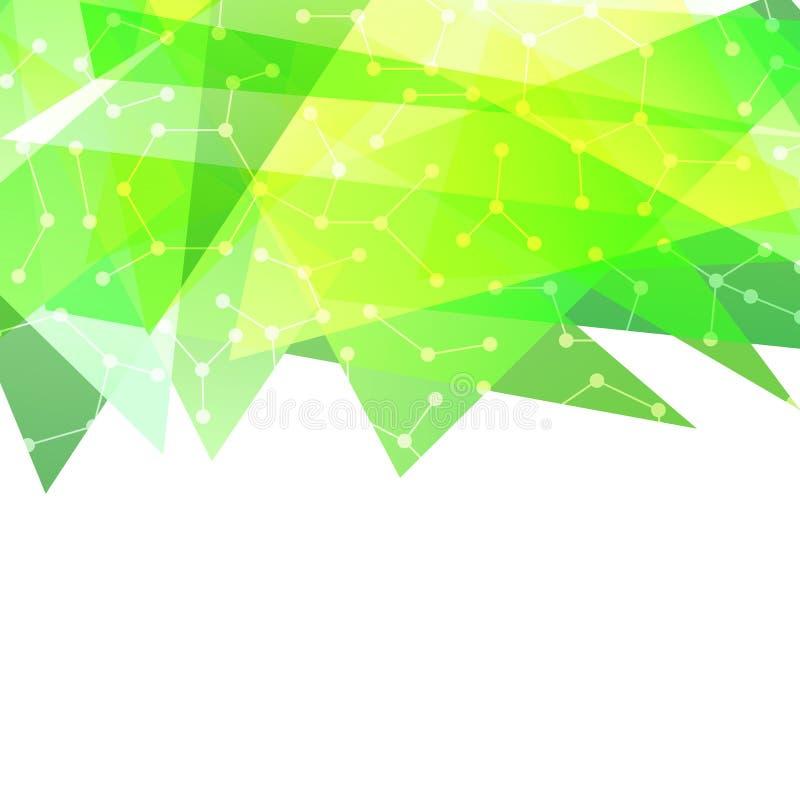 与被连接的小点的抽象现代绿色边界 库存例证