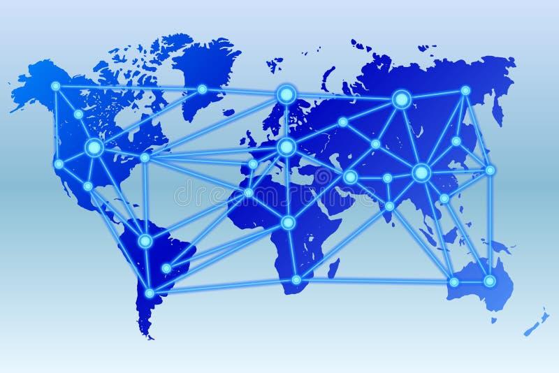 与被连接的数据中心的世界地图 库存例证
