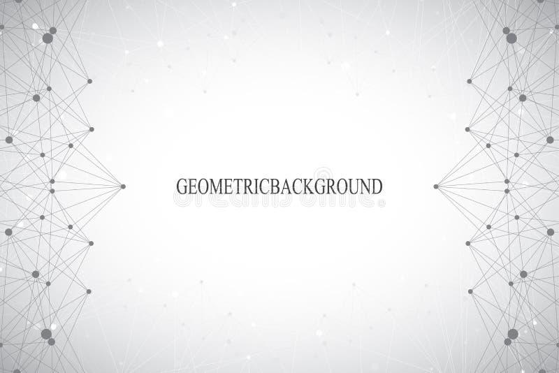 与被连接的线和小点的几何抽象灰色背景 医学,科学,您的设计的技术背景