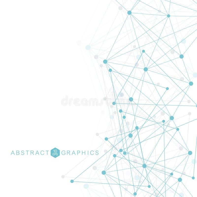 与被连接的线和小点的几何抽象背景 结构分子和通信 大数据形象化 向量例证