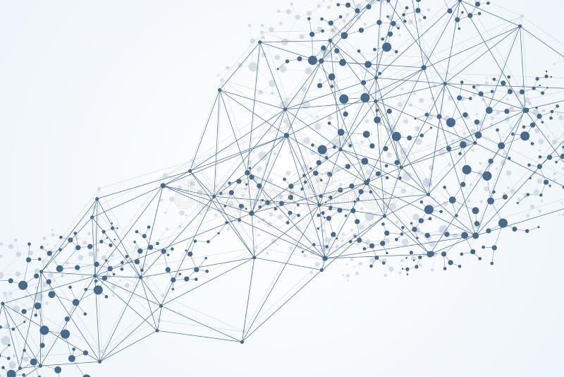 与被连接的线和小点的几何抽象背景 结构分子和通信 大数据形象化 皇族释放例证