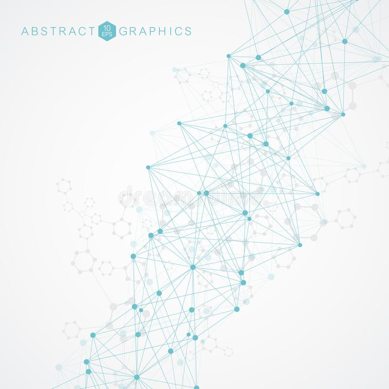 与被连接的线和小点的几何抽象背景 结构分子和通信 大数据形象化 库存例证