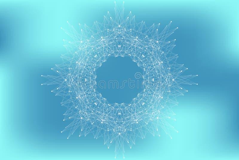 与被连接的线和小点的分数维元素 大数据复合体 几何图表背景分子和通信 向量例证