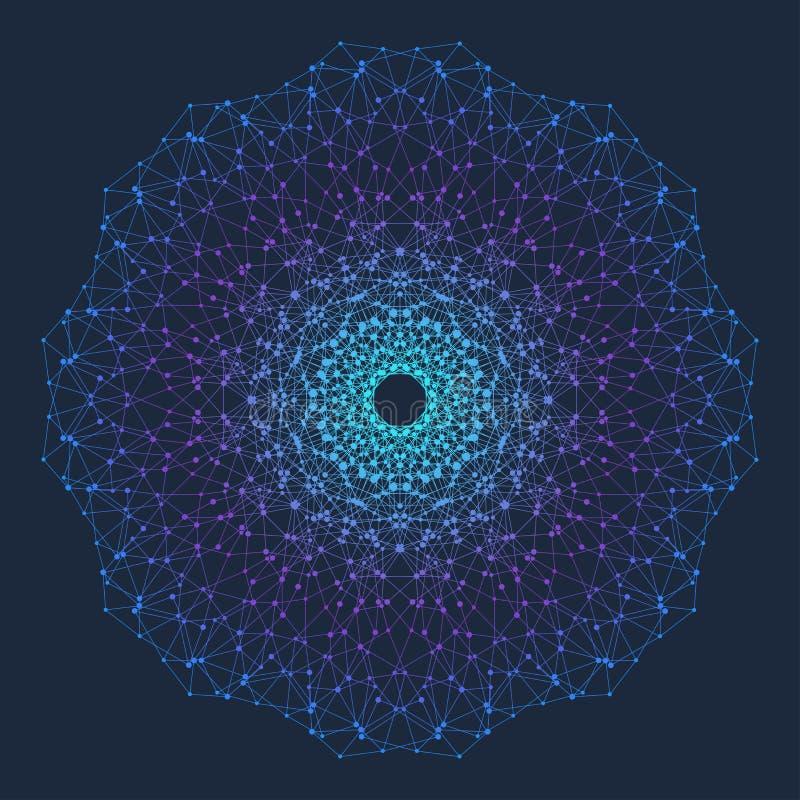 与被连接的线和小点的分数维元素 真正背景通信或微粒化合物 最低纲领派样式 向量例证