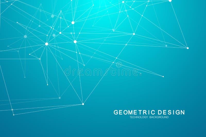 与被连接的线和小点的技术抽象背景 传染媒介几何动态例证 向量例证