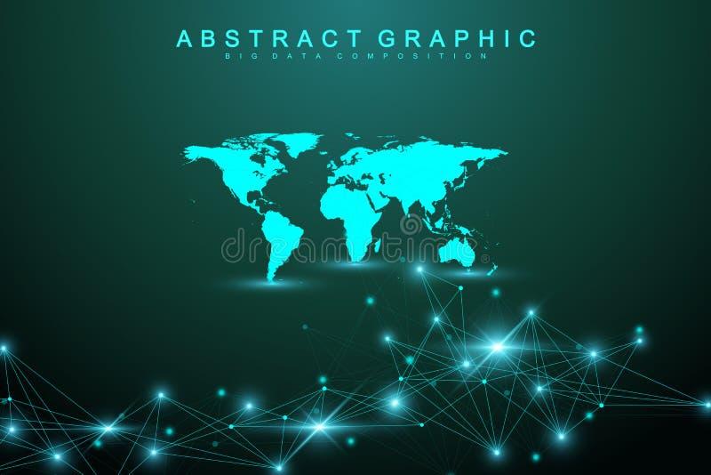 与被连接的线和小点的技术抽象背景 大数据形象化 人工智能和机器 库存例证