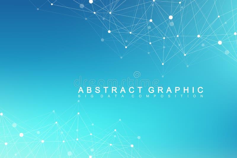 与被连接的线和小点的技术抽象背景 大数据形象化 透视背景形象化 向量例证