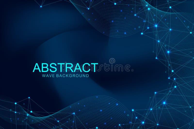 与被连接的线和小点的抽象多角形背景 波浪流程 分子结构和通信 图象 库存例证