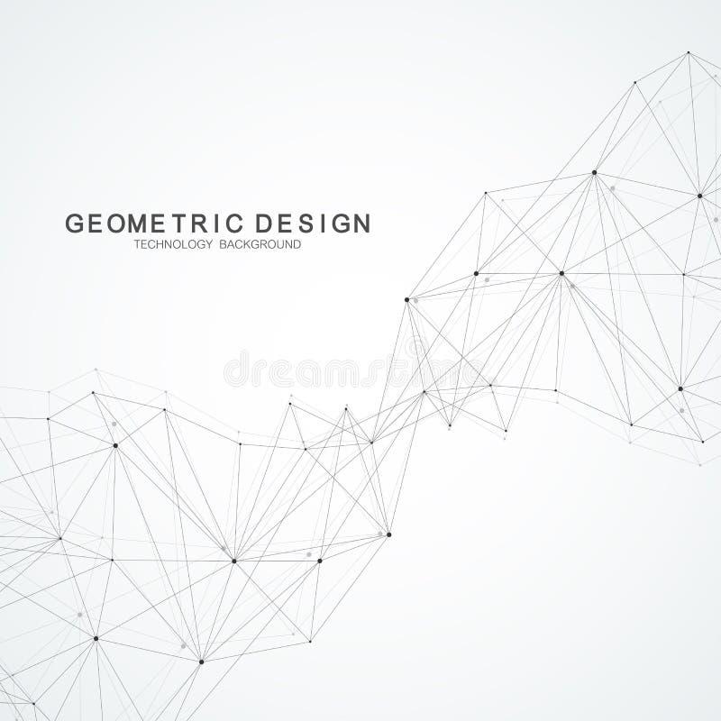 与被连接的线和小点的抽象多角形背景 Minimalistic几何样式 分子结构和 向量例证