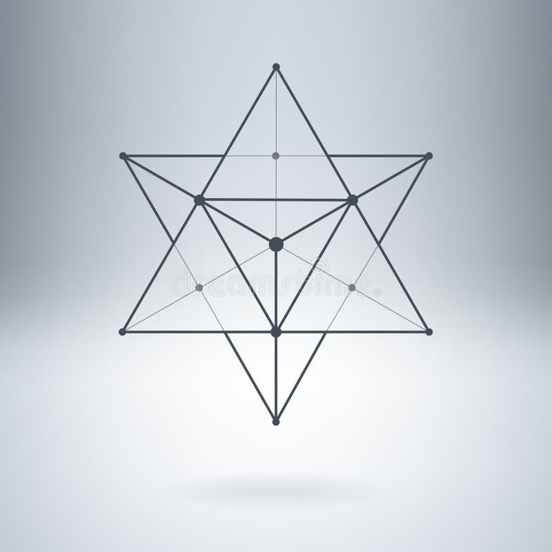 与被连接的线和小点的高昂星 抽象传染媒介Illu 皇族释放例证