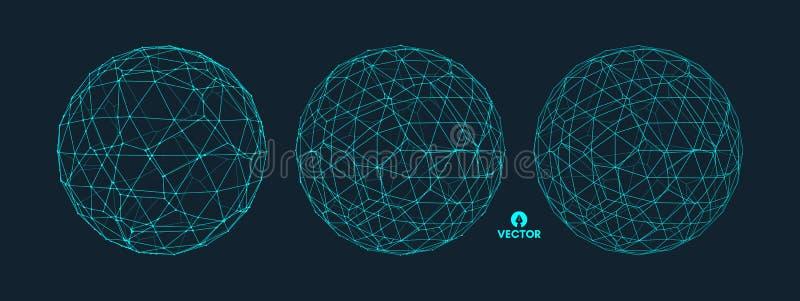 与被连接的线的球形 全球性数字式连接 Wireframe例证 抽象3D栅格设计 向量例证