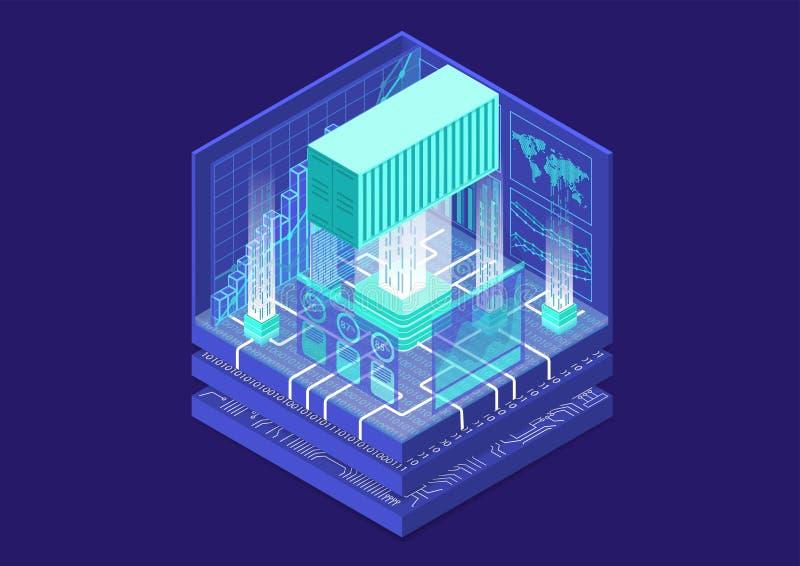 与被连接的运输货柜和逻辑分析方法仪表板的全球性数字商业概念作为等量传染媒介例证 库存例证