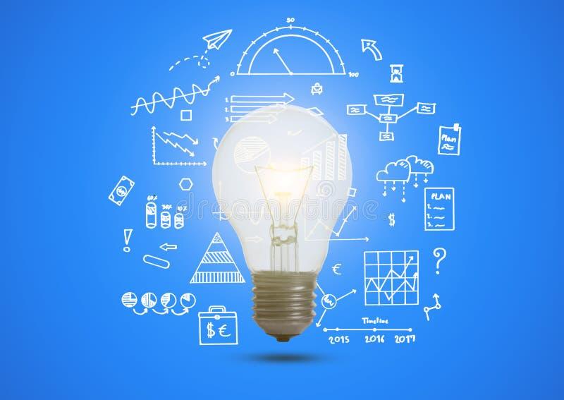 与被阐明的电灯泡概念的企业图表想法的 免版税库存图片
