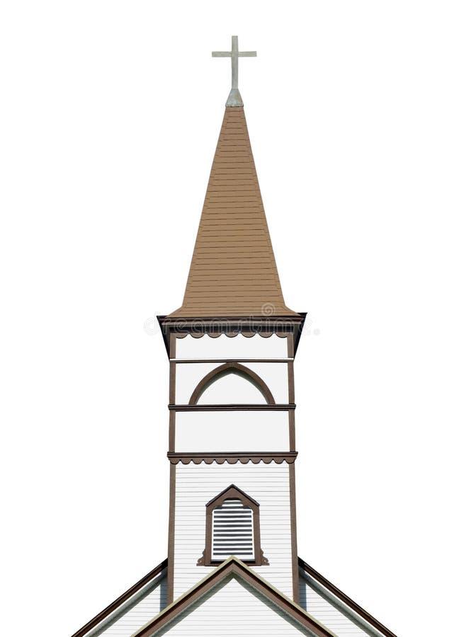 与被隔绝的十字架的教会尖顶 图库摄影